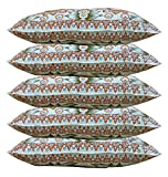 Gowri Tex Soft Pillow 17.5 x 27.5 inch (Multicolour) -Set of 5