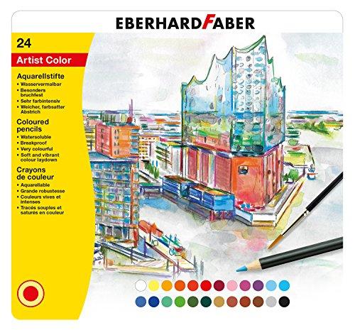 Eberhard Faber 516025 - Aquarellfarbstift 24er, mit bruchsicherer Mine, Minendurchmesser ca. 3,8 mm, wasservermalbar, inklusive Blechetui