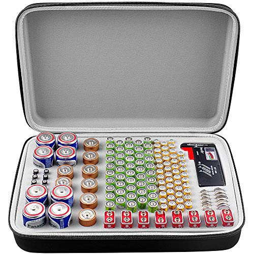 Battery Organizer Storage Box with Battery Tester (BT168), Case Holder Bagfits for 140 Batteries AA AAA AAAA 9V C D Lithium 3V(Not Includes Batteries)