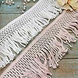 Yulakes - Cinta de encaje de 10 cm de algodón, borlas cortan flecos, encaje...