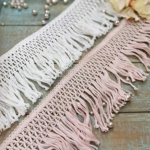 Yulakes - Cinta de encaje de 10 cm de algodón, borlas cortan flecos, encaje vintage, cinta de ganchillo, cinta de encaje para coser ropa de cama, cortinas, accesorios DIY (rosa)