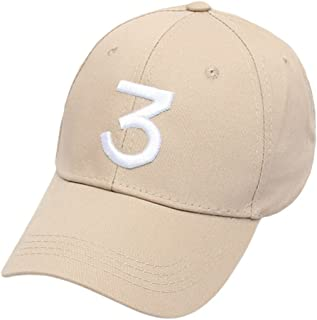 Embroider Chance Baseball Caps Hats Cool Baseball Rapper Number 3 Caps, Rock Hip Hop Classic Casquette with Adjustable Strap, Cotton Sunbonnet Plain Hat