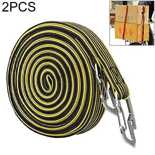 Krimpfolie 2 PCS 4m elastische strapping Touw verpakkingstape for fiets Motorfiets achterbank met haak spanbanden label machine elektrische pomp (Color : Yellow)
