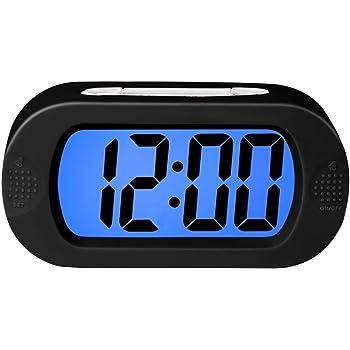 ZHPUAT Réveil Grands Chiffres12 24H à Pile avec Snooze en Silicone,Lumière Colorée,Antichoc,Idéal Cadeau pour l'Enfant,Alarme