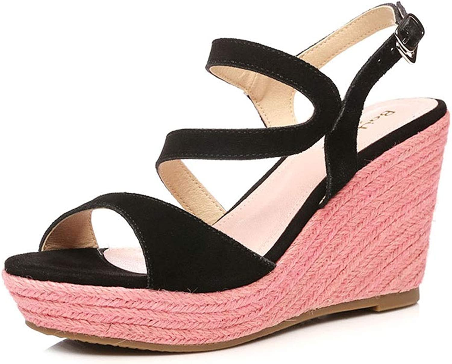 Sandals Sandals Summer New Sandals Female Wedge with Matte Leather color Weaving Women's shoes, High Heel 9cm (color   Pink, Size   38)