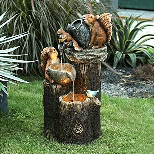 Animal Garden Statue  Squirrel Water Fountain Statue  Whimsical Squirrel Figurine Outdoor Freestanding Fountain Water Feature Decor  Creative Sculpture Ornament Lawn Yard Art Patio Decoration (A)