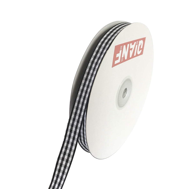 QIANF 3/8 Inch Wide Gingham Woven Edge Ribbon, Checkered Craft, 50 Yards Long Per Spool(Black)