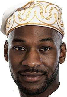 Dupsie`s Off White and Gold African Cotton Kufi Hat