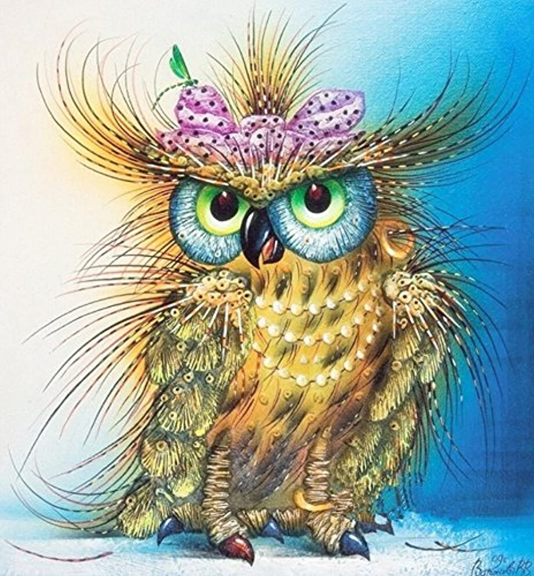 DIY Handwork Full Drill Square Diamond Painting Cross Stitch Cartoon Owl Kids Room Decor 30x30cm(12x12