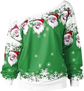 E-Scenery Plus Size Pullover Women Merry Christmas Santa Claus Print Skew Collar Sweatshirt Blouse