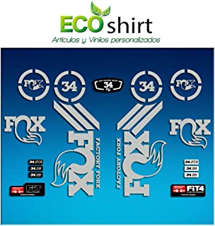 Ecoshirt 3H-HIKI-BPMK Stickers Sticker Fork Fox 34 Am64 Aufkleber Decals Autocollants Adesivi Forcela Gabel Fourche, Silver