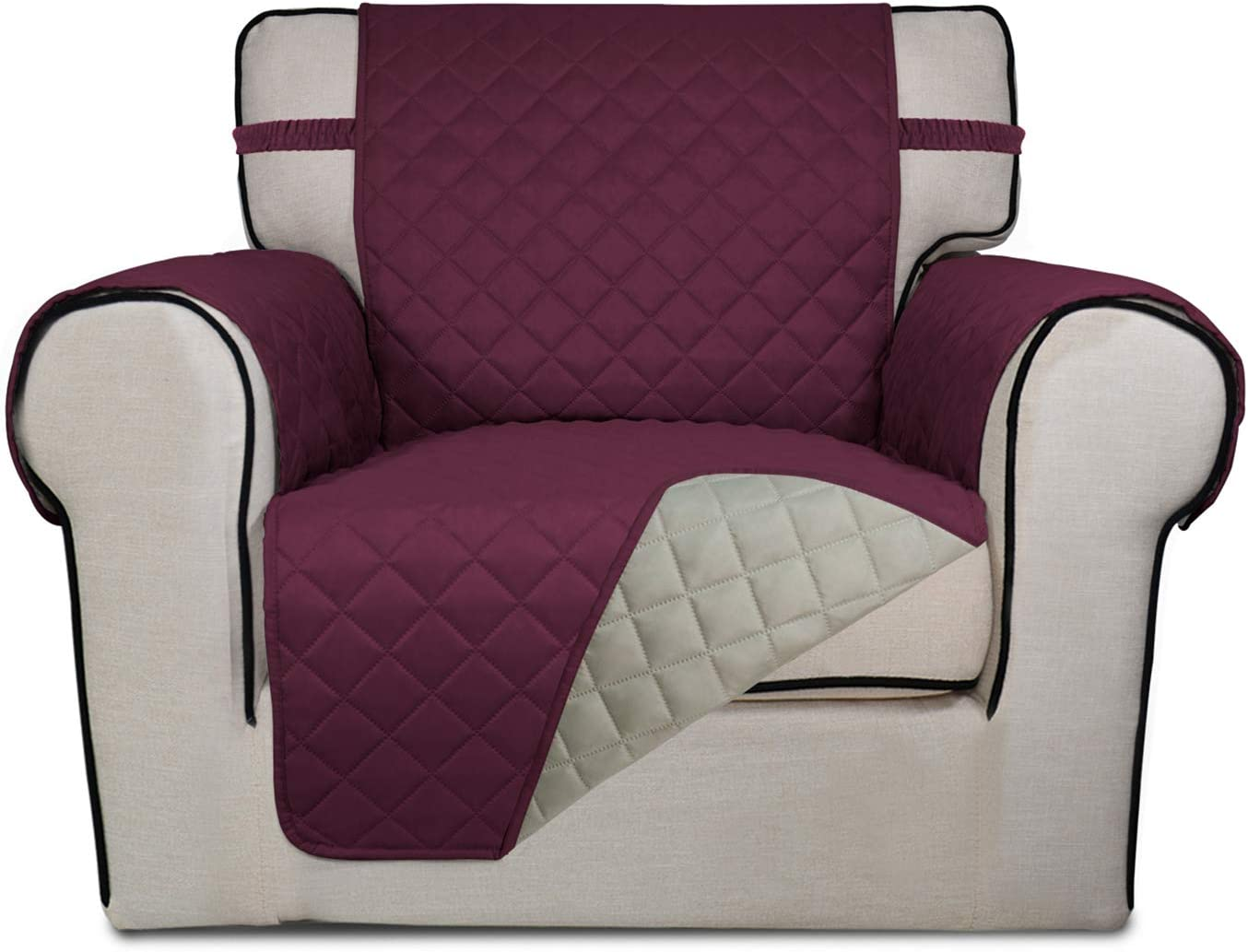 PureFit Reversible Quilted Sofa Cover, Water Resistant Slipcover Furniture Protector, Washable Couch Cover with Non Slip Foam and Elastic Straps for Kids, Dogs, Pets (Chair, Wine/Beige)