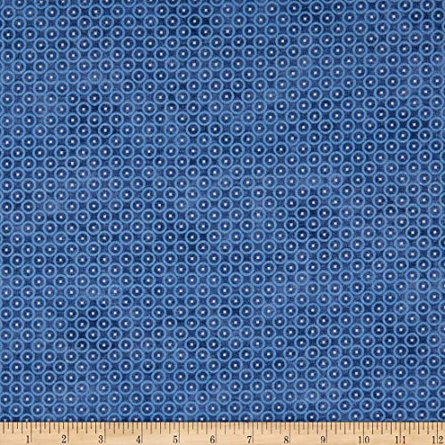 Northcott Hometown Hockey Blue with Circles White Center Cotton Fabric 22914-43