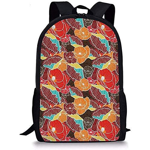 Hui-Shop Flor de Mochilas Escolares, Shabby Chic Poppy Blossoms Pattern en Coloridas líneas de Estilo Doodle Gráfico exótico Niños Niñas