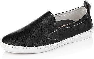 Women Loafers Shoes, Black White Round Toe Basic Slip-on Flats