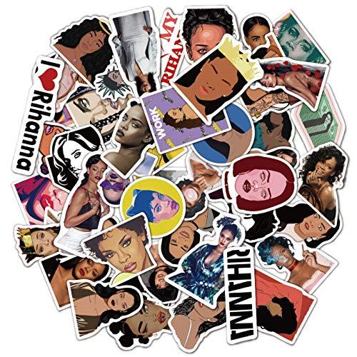 LVLUO Rihanna Singer Graffiti Sticker Music Notebook Equipaje Skateboard Etiqueta Impermeable 50 Piezas