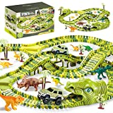 278PCS BuckDio Dinosaur Race Track Toys Set, Flexible Trains Tracks with 2 Race Trucks, Construction Trucks as Birthday Gifts for 3 4 5 6 7 Years Old Child Boys and Girls