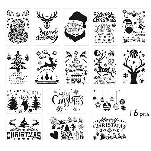 16 Stück Weihnachten Schablonen Vorlagen, Xmas Craft Malvorlage, Santa DIY Zeichnung Schablonen - Weihnachtsmann, Schneeflocken, Kugeln, Bäume, Rentiere, Geschenkboxen Xmas Holiday Craft