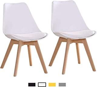 YEEFY Mid Century Modern DSW Dining Chair Upholstered Tulip Chair for Living Room, Dining Room, Set of 2, (White)
