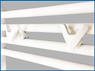 Porta toallas VIP, soporte de albornoz, gancho de toalla para radiador de toallas, Contiene 2 porta toallas Color: blanco