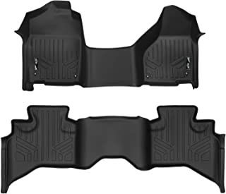 SMARTLINER Floor Mats 2 Row Liner Set Black for 2012-2018 RAM 1500 Quad Cab with 1st Row Bench Seat and Dual Floor Hooks
