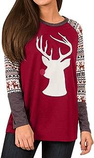 Women Christmas Deer Graphic Raglan Long Sleeve Shirt