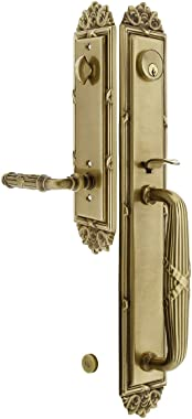 """Imperial Style Tubular Handleset in Antique Brass with Right Hand Ribbon & Reed Levers and 2 3/8"""" Backset. Antique Door Handl"""