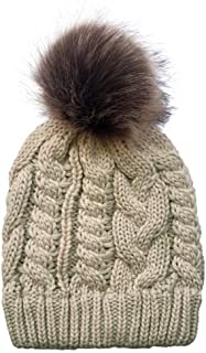 MZHHAOAN Knitted Hats for Women,with Wooly Ball Twist Hat,Warm Hat