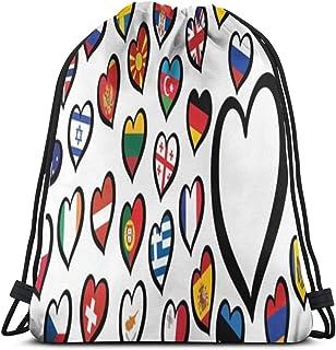 Song Festival Europe Song Festival Eurovision Competition 2019 Logo Symbol Mochila con cordón Bolsas Deportivas Cinch Tote Bags para Viajes y Almacenamiento para Hombres y Mujeres de 17x14 PU