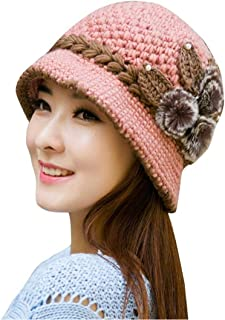 Pingtr Knitted Hats for Women,Fashion Women Lady Winter Warm Crochet Knitted Flowers Decorated Ears Hat
