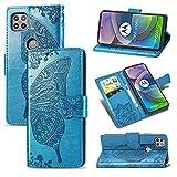 JIUNINE Hülle für Motorola Moto G 5G, Handyhülle Leder Flip Hülle mit Schmetterling Muster [Kartenfach] [Magnetverschluss] Schutzhülle Tasche Cover Lederhülle für Motorola Moto G 5G, Blau