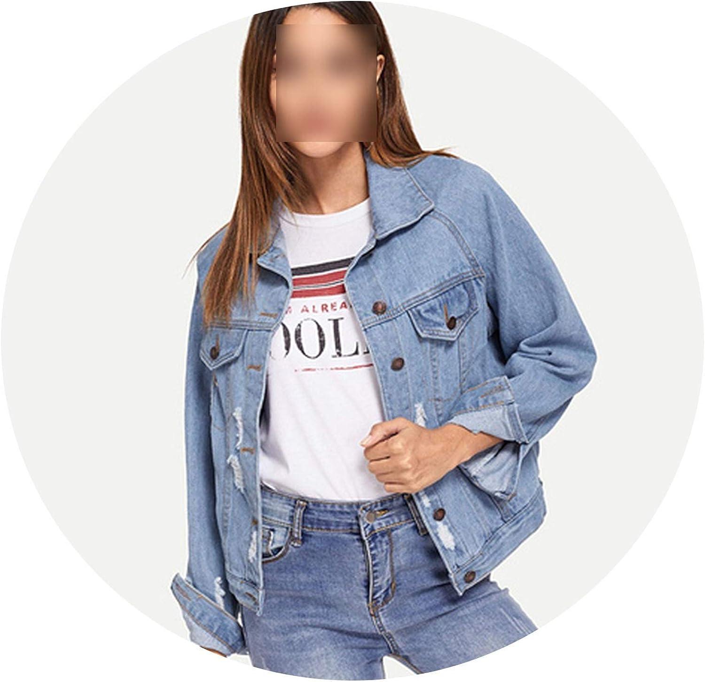 JunXian coats bluee Single Breasted Collar Pocket Ripped Jeans Jacket Denim Coat Women