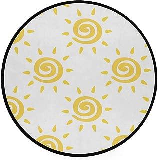 JOSENI Home Decor Light Round Area Rug,Vector Seamless Pattern Yellow Sun Ayurveda,Super Soft Circle Carpet (6'Diameter)