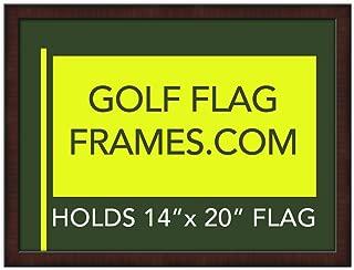 Golf Flag Frames 17x23 Mahogany, Moulding brn-002, Green Mat (holds 14x20 PGA, Ryder Cup, US Open Golf Flags; flag not incl)