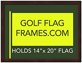 Golf Flag Frames 17x23 Mahogany, Moulding brn-002, Green Mat (holds 14x20 PGA, Ryder Cup, US Open Golf Flags; flag not incl)