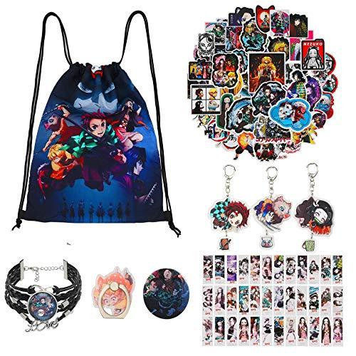 bilkoivn Demon Slayer Set de regalo con mochila con cordón, pegatinas, máscara facial, marcapáginas, aguja de botón, pulsera, llavero acrílico de doble cara HD, soporte para anillo de teléfono