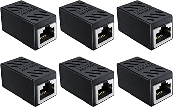 Best RJ45 Coupler, 6 Pack in Line Coupler Cat7 Cat6 Cat5e Ethernet Cable Extender Adapter Female to Female Ethernet Cable Coupler (Black-6 Pack) Review