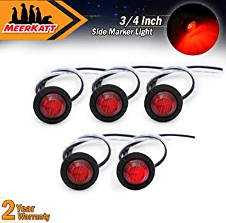 Meerkatt (Pack of 5) 3/4 Inch Mini Small Round Red LED Side Marker Indicator Turn Signal Light Clearance Lamp Truck Trailer Marine Bus RV Automobiles Flatbed Waterproof 12V DC with rubber grommets