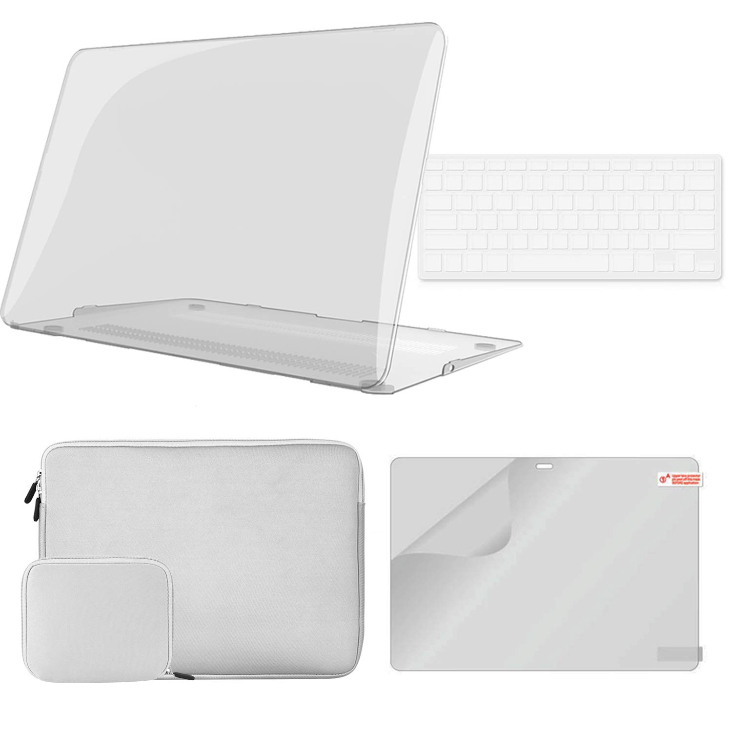 iCasso MacBook Pro 13 inch Case A2159/A1989/A1706/A1708 Bundle 4 in 1, Plastic Hard Shell Case, Sleeve, Screen Protector…