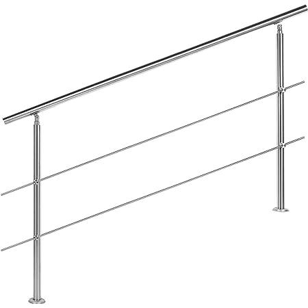bis 2.5m inkl. 3 Pfosten 3 Querstangen Edelstahl-Handlauf Gel/änder f/ür Treppen Br/üstung Balkon mit//ohne Querstreben