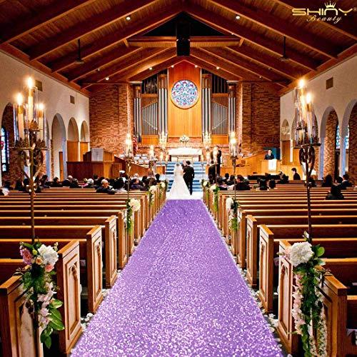 ShinyBeauty Aisle Runners for Weddings 10 ft by 4 ft Lilac Aise Runner Wedding Aisle Runner Outdoor Glitter Runner Church Runner (4FTx10FT, Lavender)