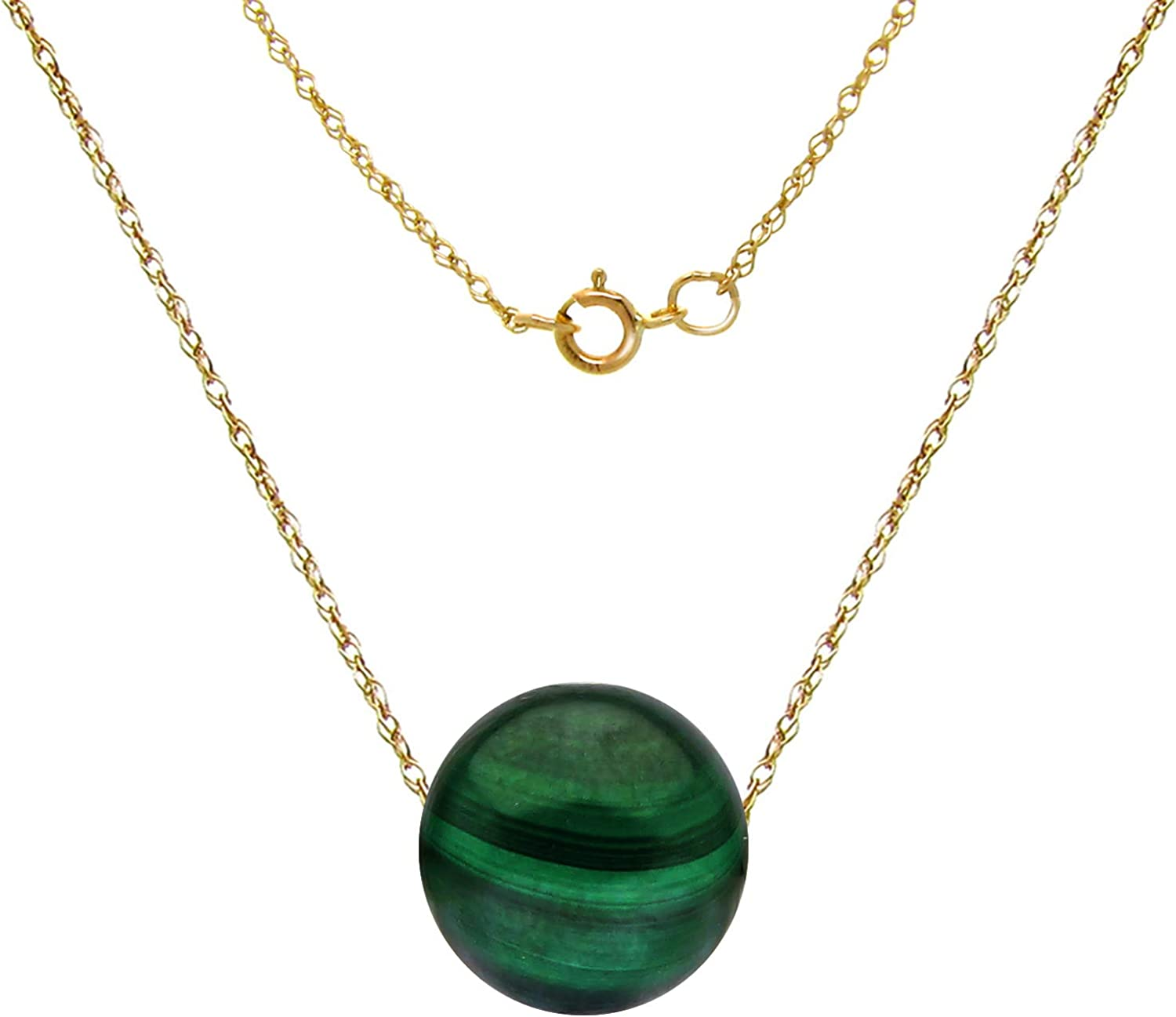 8mm Gemstones Charm Pendant Floating on an 18 Inches Long Rope Chain 14k Gold