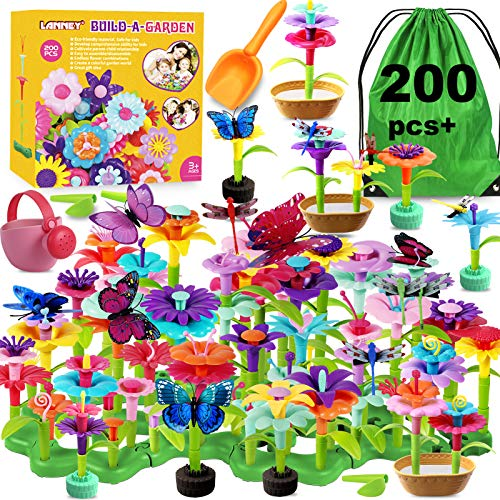 LANNEY Flower Garden Building Toys, 200 Pcs Build A Garden Toy Set For Girls Kids Age 3 4 5 6 7 Year Old Toddlers Boys, Educational Stem Toy Pretend Gardening Gifts For Birthday Christmas