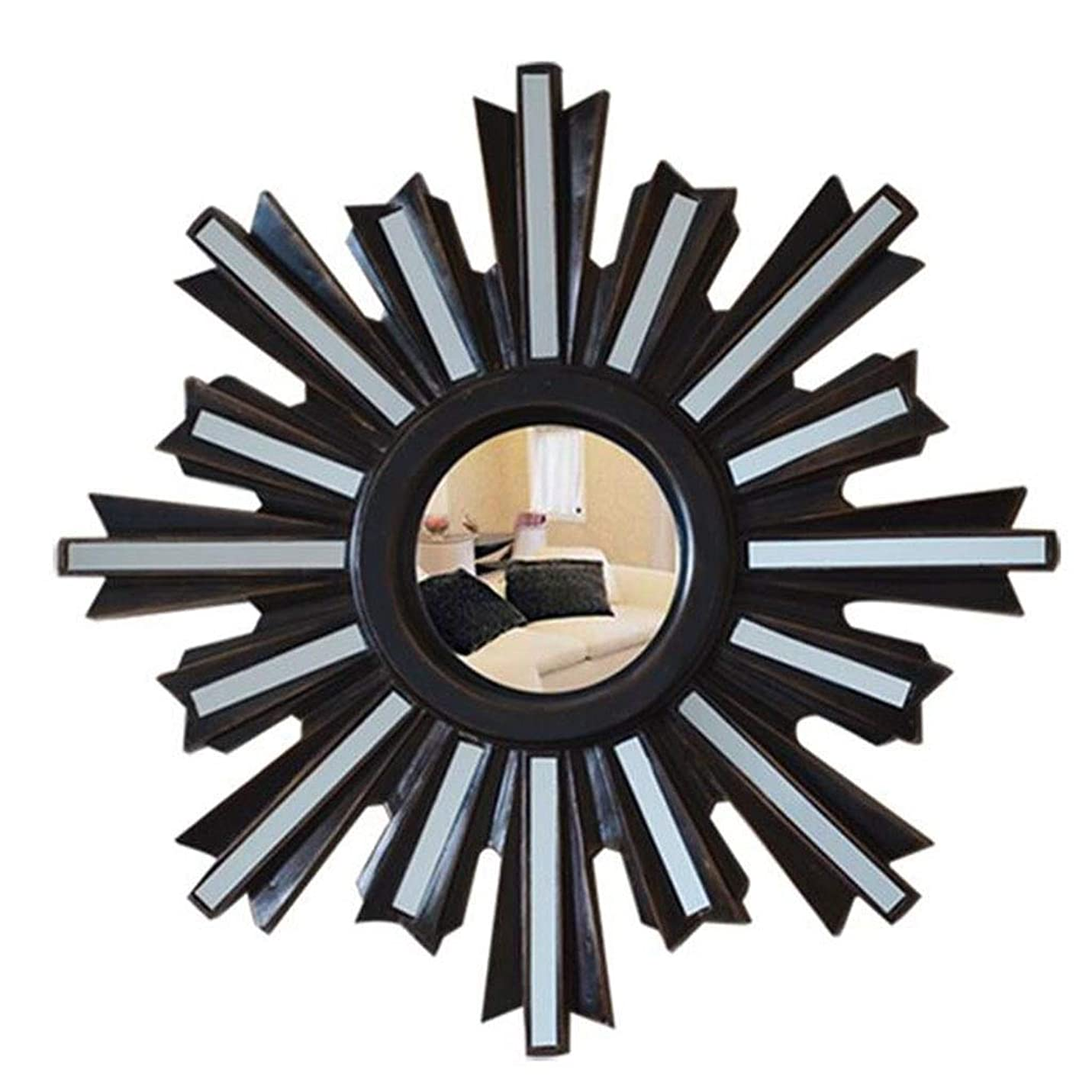 テンポ報奨金勧告ヨーロピアンウォールデコレーションミラー、ポーチコリドーリビングルームハンギングミラー、バスルームバニティミラー-0705(カラー:ブラック)