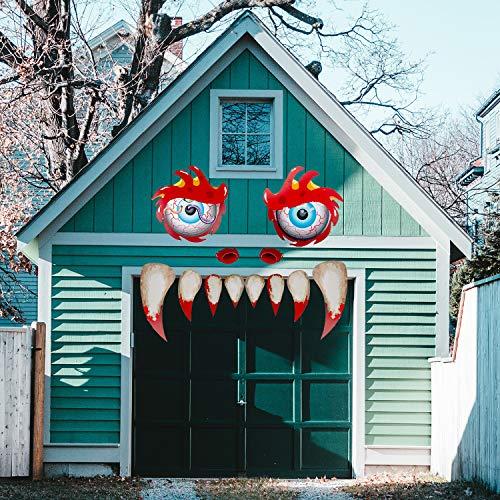 SAVITA Halloween Adesivi per Mostri facciali Adesivi in PVC a Doppia Faccia Impermeabili Adesivo Archway Decorazione per Porte da Garage con zanne, Occhi e Narici