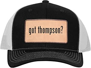 got Thompson? - Leather Light Brown Patch Engraved Trucker Hat