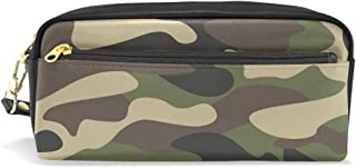 ALAZA Brown Green Camouflage Pencil Case Zipper PU Leather Pen Bag Cosmetic Makeup Bag Pen Stationery Pouch Bag Large Capacity