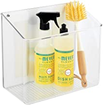 mDesign Wall Mount Plastic Home Storage Organizer Holder Tray Basket with Self Adhesive Tape - Hanging Bin Shelf for Walls...