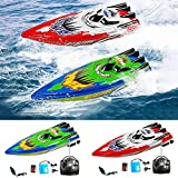 RC Boat for Kids Remote Control Boats for Pools and Lakes, 2.4Ghz 30KM/H Racing Boats for Kids and Adults with 1 Extra Battery Rechargeable, Self Righting, Gifts for Boys Girls (Green)