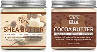 Barbers Crew Shea Butter And Cocoa Butter | Raw | Unrefined | African | Great For Face, Skin, Body & Lips-Combo Pack (Each...